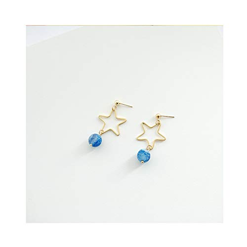 Gold Star Dangle Drop Studs Earrings with Natural Stone for Senstitive Ears (1)
