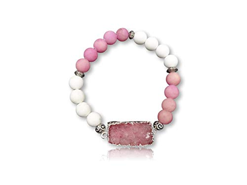 MGR Beaded Pink Druzy Stone Stretch - Magnesite Pink