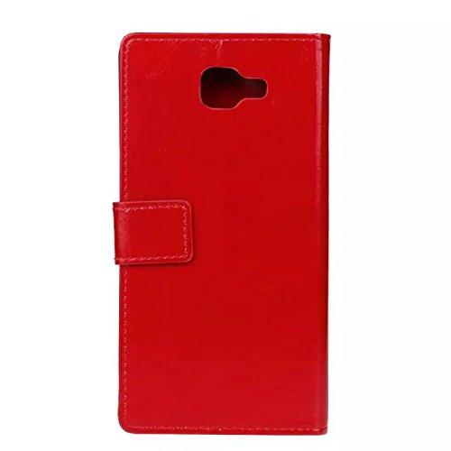 SRY-Funda móvil Samsung Color sólido Crazy Horse Texture Funda protectora de cuero retro Horizontal Flip Funda de la caja con ranuras para tarjetas Wallet para Samsung Galaxy A9 ( Color : Blue ) Red