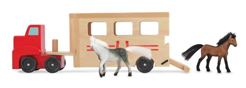 Doug Pasture Pals - Melissa & Doug Horse Carrier Wooden Vehicle Play Set (Tractor-Trailer Truck Toy with 2 Horses, Pull-Down Ramp)