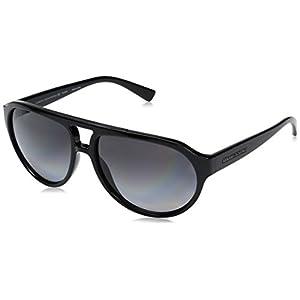 Armani Exchange Men's Injected Man Polarized Aviator Sunglasses, Black, 59 mm