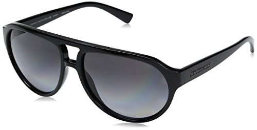 Armani Exchange Men's Injected Man Polarized Aviator Sunglasses, Black, 59 - Sunglasses Ax Aviator