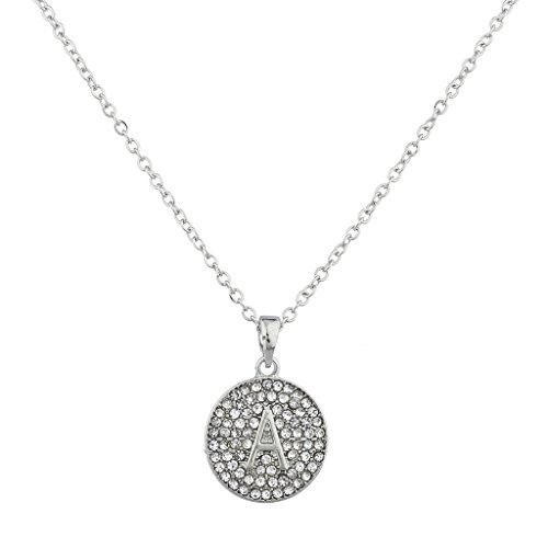 Lux Accessories SilvertoneRhinestone Personalized A Initial Pendant Necklace (Rhinestone Initial)