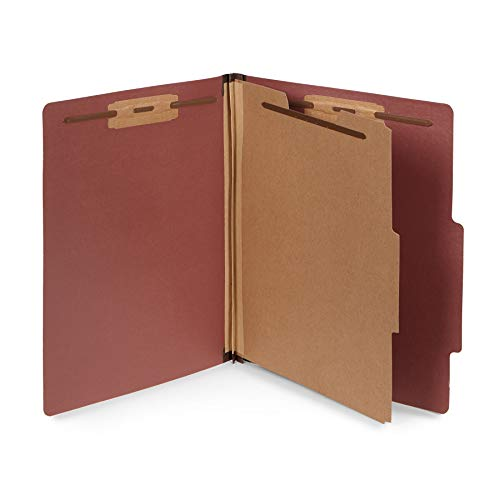 Section Top Tab Classification Folders - 10 Letter Size Red Classification Folders- 1 Divider-2'' Tyvek expansions- Durable 2 Prongs Designed to Organize Standard Medical Files, Office Reports- Letter Size, Red Brick Color, 10 Pack
