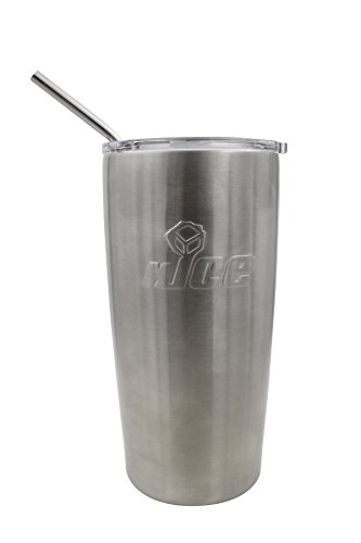 nICE TXG-513884 Steel Tumbler with Straw, Stainless, 20 oz