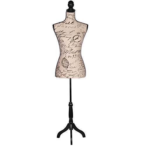 Female Dress Form Mannequin Adjustable Height Black Tripod Stand Woman Body Torso Dress Jewelry Display - Beige Printing