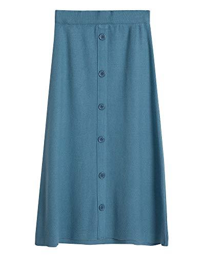 Jupe Midi Femme Taille Haute Coupe Slim Simple Boutonnage Jupe en Tricot De Mode Bleu