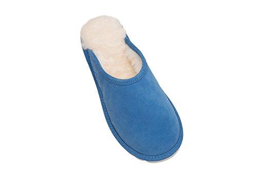 Damen Lammfell Hausschuhe Echtleder Gefuttert Wolle Pantoffeln Schlappen Schuhe D68P Blau