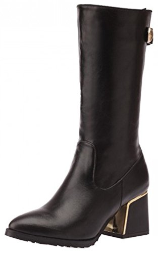 Easemax Women's Comfy Round Toe Side Zipper Low Block Heeled Mid Calf Martin Boots Black