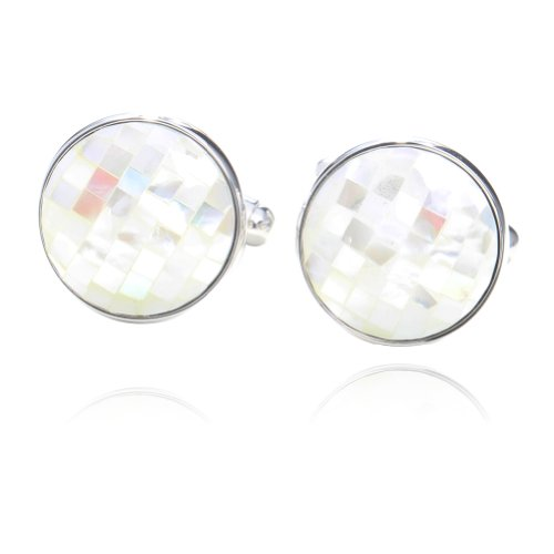 Digabi White Mother of Pearl Round Shaped Cufflinks with Gift Box