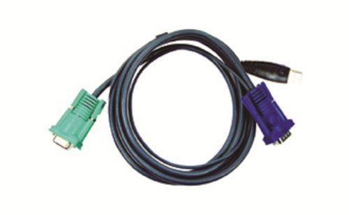 ATEN USB KVM Cable, SPHD-15 Male to VGA and USB A 2L5203U, 10 Feet