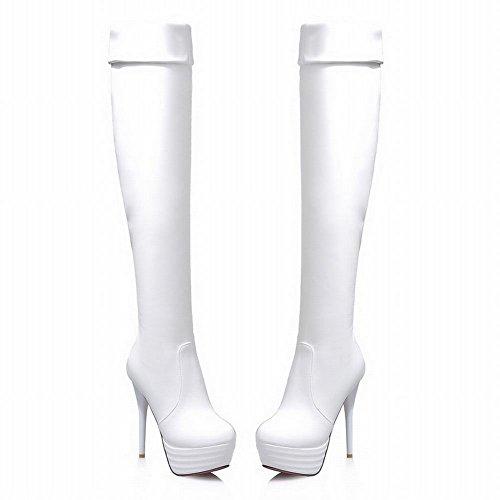Latasa Womens Fashion Stiletto High-heel Platform Above the Knee Dress Boots White MM6Hvbw