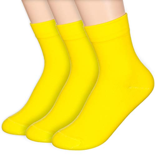 Basic Women's Daily Solid Quater Socks (Onesize, Yellow 3 Pairs)