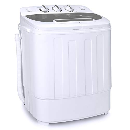 Best Choice Products Portable Compact Mini Twin Tub Laundry Washing Machine and Spin Cycle Dryer w/Hose, 13lbs Load Capacity, Built-In Drain - White/Gray (Best Top Load Washer And Dryer Combo)