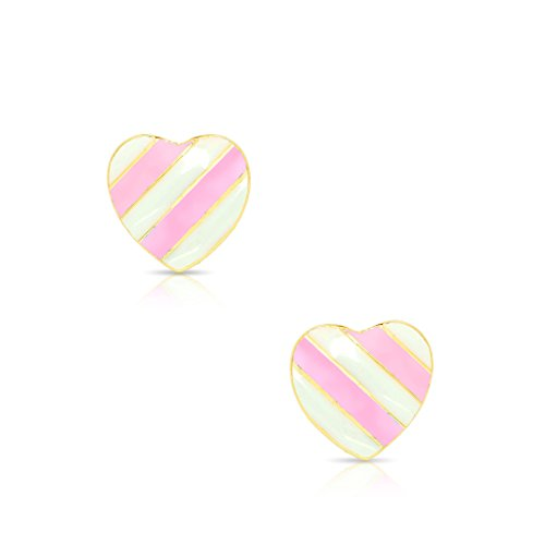Lily Nily Jewelry for Girls - Striped Heart Stud Earrings - 18k Gold Plated with Pink Enamel