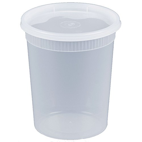 Microwavable, Freezer & Dishwasher Safe, 32 oz. Round Deli Food Container with Lids (by Comfy Package) Prevents Leaks and spills. [24 PACK] - Quart Container
