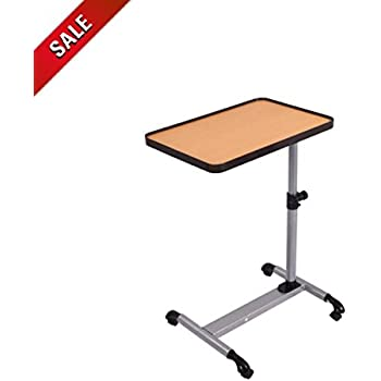Amazon Com Adjustable Overbed Table With Wheels Tiltable