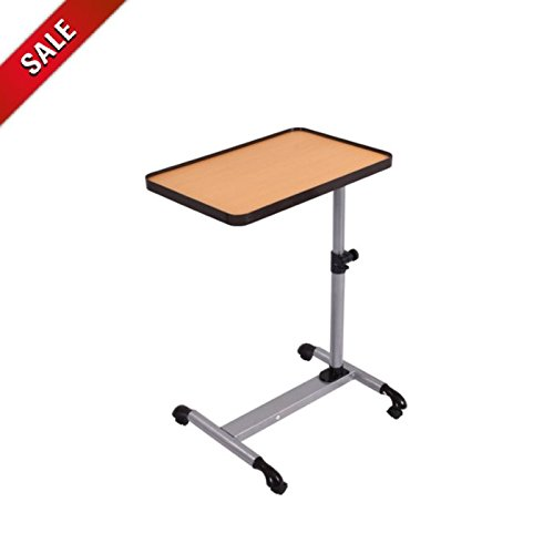 Adjustable Overbed Table with Wheels Tiltable Table Tray Home Medical Hospital Rolling Table Heavy Duty Collapsible Tilting Wooden Overbed Table & eBook by AllTim3Shopping