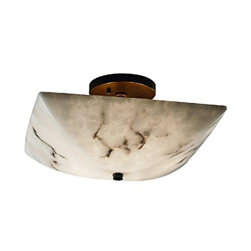 Justice Design Group Lighting FAL-9695-25-DBRZ-LED2-2000 LumenAria-14 Semi-Flush Square Bowl Shade Faux Alabaster-LED, Dark Bronze