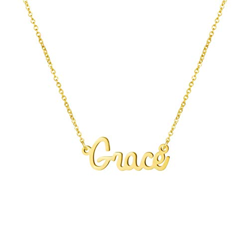 Yiyang Personalized Name Necklace 18K Gold Plated Stainless Steel Pendant Jewelry Birthday Gift for Girls (Grace) ()