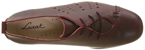 Luxat Women's Harpade Loafers, Black Red (Rouge Foncé)