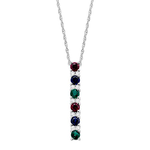 Ruby Emerald Pendant - 1 ct Created Emerald, Ruby & Sapphire Pendant Necklace with White Sapphire in Sterling Silver