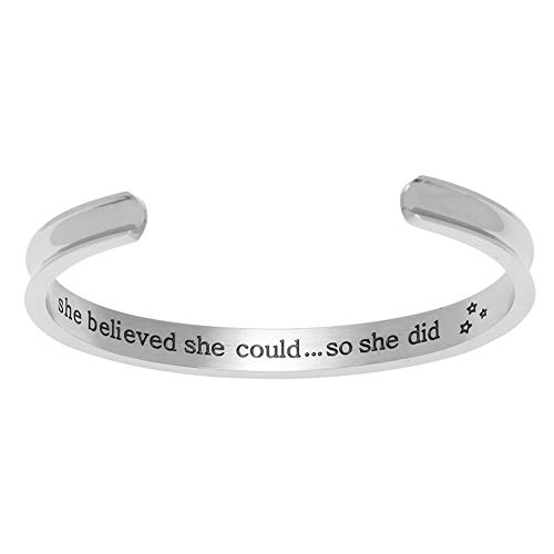 IDoy 'She Believed She Could So She Did' Inspirational Cuff Bracelets, Hair Tie Bracelet for Women Girls