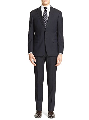 Tone Stripe Mens Suit (Luciano Natazzi Men's Modern Fit Two Button Faint Faint Pinstripe Black Suit (36 Short US / 46 Short EU))