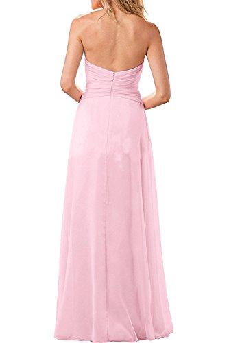 Abendkleider Rock mia Linie Spitze Ballkleider mit Lang Promkleider Braut Wassermelon A Herrlich Chiffon La Festlichkleider Pink qCX7xBq