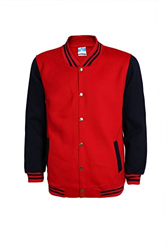 Mojessy Women's Varsity Bomber Jacket Fall Biker Baseball Jacket Short Coat Medium Red&Navy