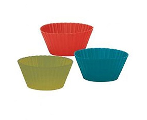 """TRUDEAU MUFFIN CUPS SILICONE MED 3.5"""" SET OF 6 RED GREEN BLUE NEW IN BOX 482 F"""