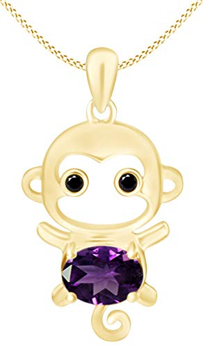 Mothers Day Jewelry Gifts Simulated Alexandrite Cute Monkey Animal Cartoon Pendant Necklace in 14K Yellow Gold Over Sterling Silver
