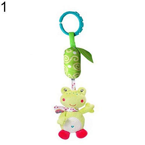 LamicAR Plush Cartoon Animal Baby Infant Stroller Rattle Hand Bell Educational Toys Frog_