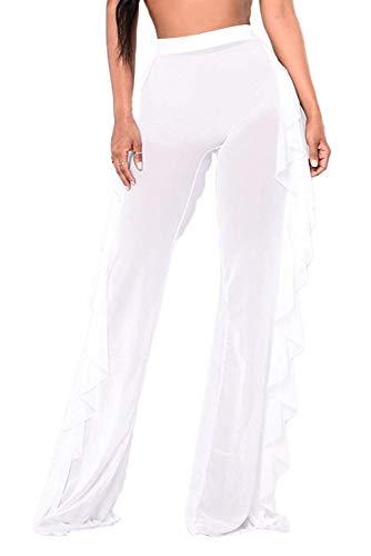 Doqcey Women's Perspective Sheer Mesh Ruffle Pants Swimsuit Bikini Bottom Cover up (Tag 2XL, White)