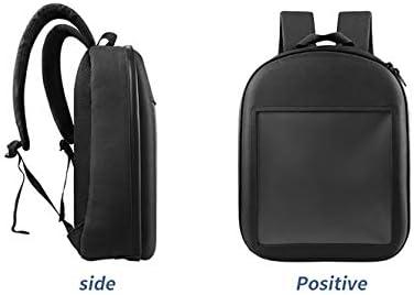 LEDバックパックバッグラップトップスマートインタラクティブライトカスタムアニメーションバッグ、WiFiワイヤレスアプリグレー用LEDバックパックダイナミックWifi防水Diy 64x64解像度サポート
