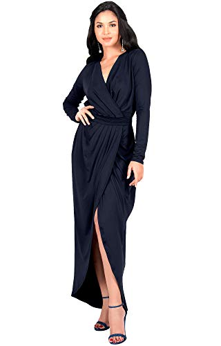 KOH KOH Womens Long Sleeve Full Length V-Neck Sexy Wrap Empire Waist Formal Winter Fall Cocktail Wedding Evening Gown Gowns Maxi Dress Dresses, Navy Blue L 12-14