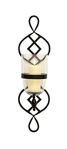 Geometric Glass Sconce - Deco 79 Metal Glass Candle Sconce, 7 by 27-Inch