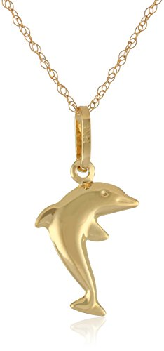 (14k Yellow Gold Petite Dolphin Pendant Necklace, 18