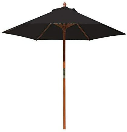 Above All Advertising, Inc. 7 ft Round Wood Market Umbrella Outdoor Patio Garden Table Umbrella, Black