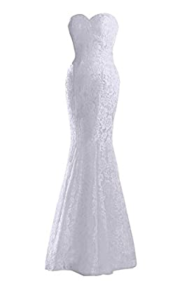 JinXuanYa Women's Lace Wedding Dress Mermaid Evening Dress Free With Belt