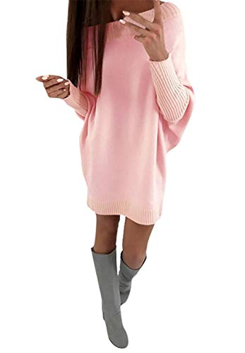 YOMISOY Womens Sweater Dresses Oversized Casual Batwing Sleeve Off The Shoulder Loose Knit Solid Tunic Tops