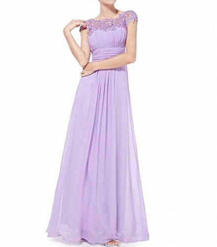 Brustumfang Abendkleid Gerüscht Rücken Leader offener der Damen Hellviolett Schönheit Violett WOq0O4gwxY