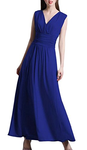 V Sleeveless Deep Jaycargogo Slim Dress Swing Waist Neck Blue Faux Solid Women Wrap qwwAIY
