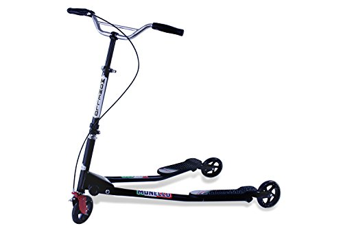 Monello M7 Flicker Carver Scooter - Kids/Adult Drifting 3 Wheels Foldable Swing Scooter Trike (Black/Black)