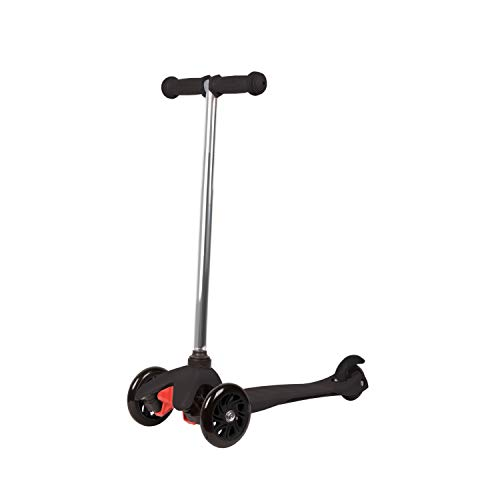 Rugged Racers Black Kick Scooter for Boys & Girls 3 Wheel Scooter, Kick Scooter for Kids with PU Wheels, Step Brake, Lean 2 Turn, Ride on Toys for Children 3 Year Plus
