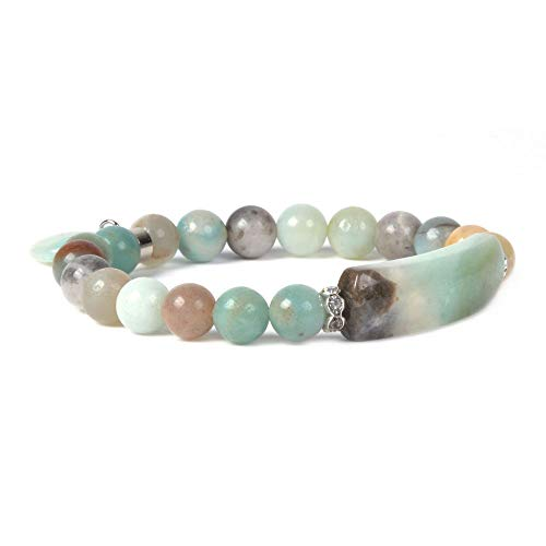 Natural Multi-Color Amazonite Gem Semi Precious Gemstone Love Heart Charm Stretch Bracelet ()