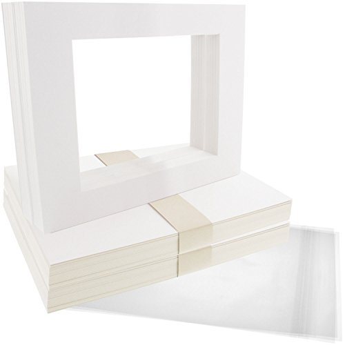 US Art Supply Art Mats Acid-Free Pre-Cut 8x10 White Picture Mat Matte Sets. Includes a Pack of 50 White Core Bevel Cut Mattes for 5x7 Photos, Pack of 50 Backers & 50 Clear Sleeve Bags