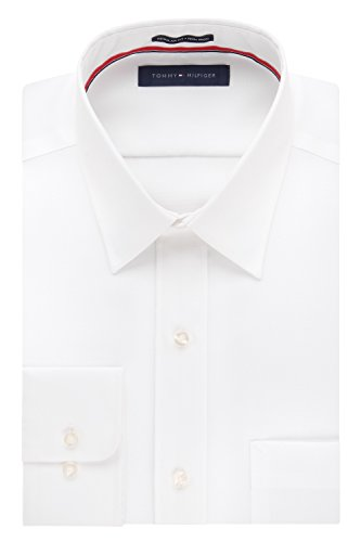 (Tommy Hilfiger Men's Regular Fit Non Iron Point Collar Solid, White, 15.5
