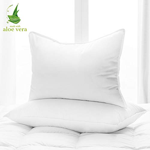 Aloe Vera Hotel Collection Gel Pillow (2 Pack) - Luxury Plush Pillows with All-Natural Pure Aloe Vera Treatment - Eco-Friendly, Hypoallergenic infused with Soothing/Moisturizing Aloe Vera - Queen