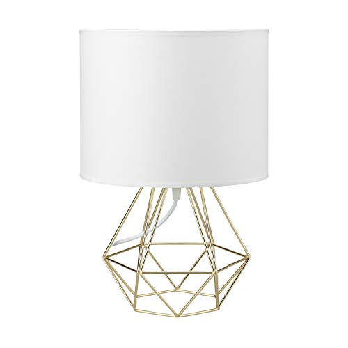 Modern Vintage Style Table Lamps - FRIDEKO Ecopower Minimalist Bedside Lamp Night Light Hollowed Out Cage Shape Base with Fabric Shade Desk Lighting Fixture for Bedroom Living Kids Room, White - Modern Pack Style